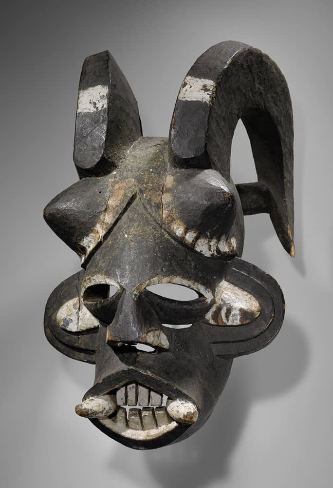 Igbo Mgbedike Helmet Mask, Nigeria. Early 20th Century. Wood and Pigment. Photo: Yale University Art Gallery